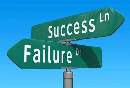 """street sign intersection showing """"success"""" and """"failure"""""""